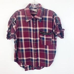 Gimmicks by BKE Plaid Open Back Flannel Top